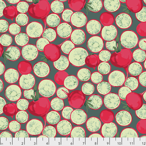 Free Spirit Veggies Radish Coin Dark Quilting Cotton