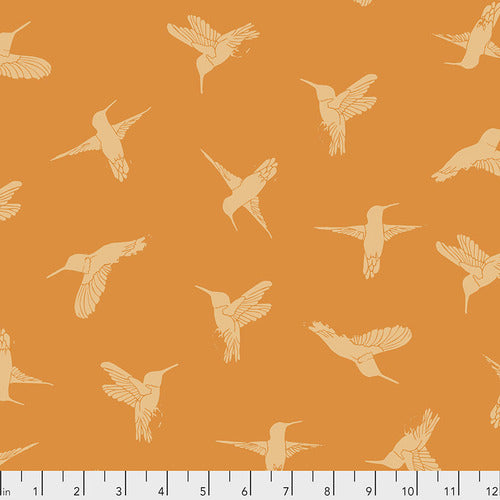 Free Spirit Murmur Humming Birds Quilting Cotton - Orange