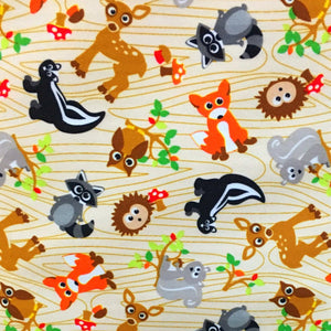 "Forest Friends PUL Fabric 13"" remnant"