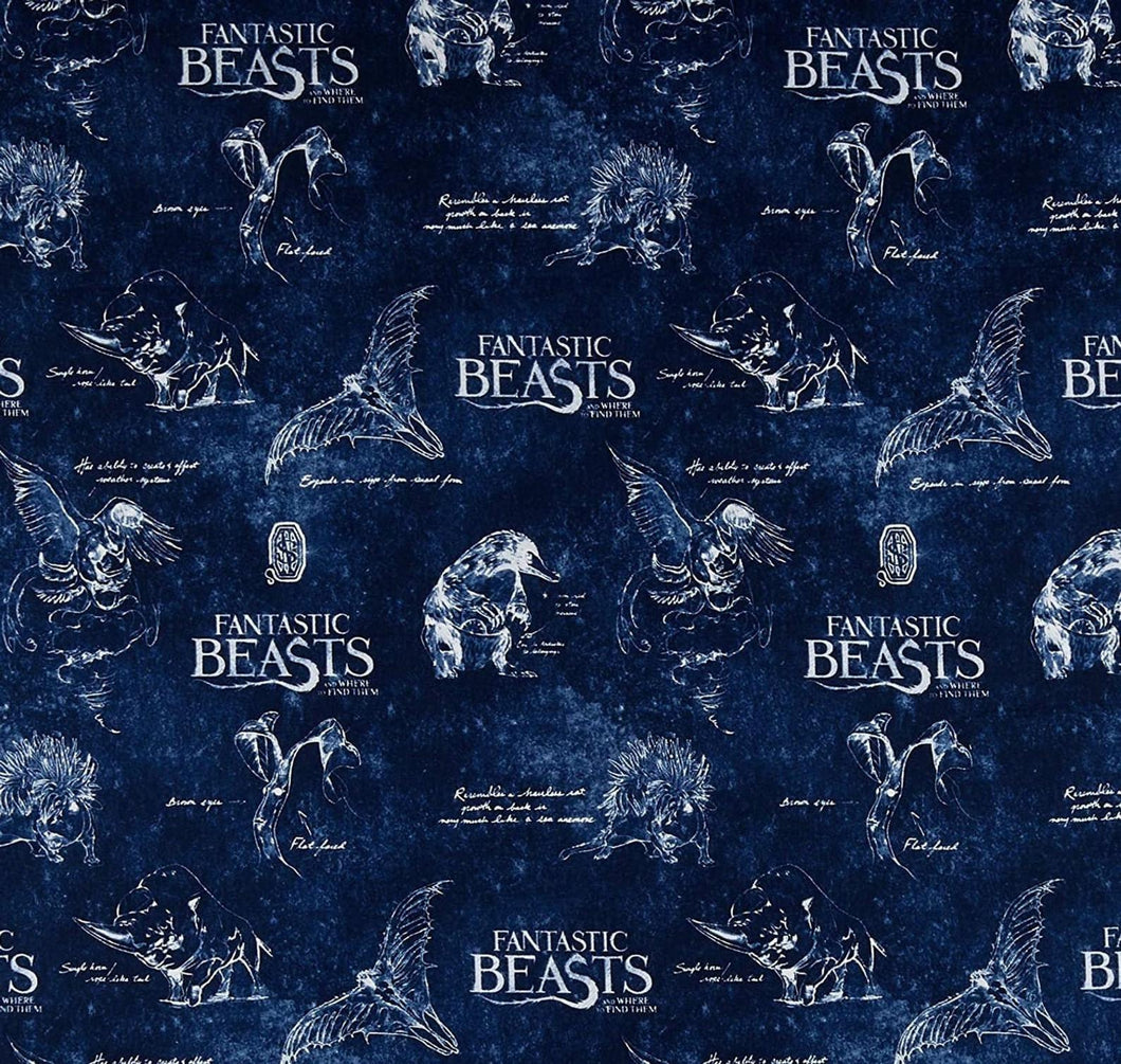 Camelot Harry Potter Fantastic Beasts Logo & Creatures - Navy