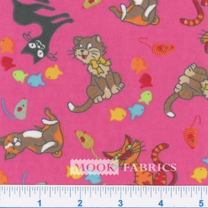 Kitty 9 Lives Pink Flannel