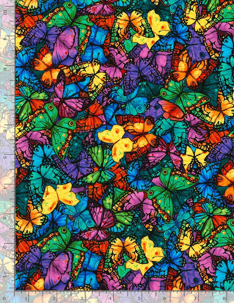 Timeless Treasures Midnight Tropical Butterflies - Bright