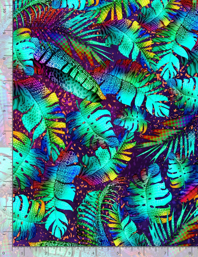 Timeless Treasures Midnight Tropical Neon Tropical Leaves