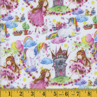 Unicorn And Princess Minky Fleece Fabric