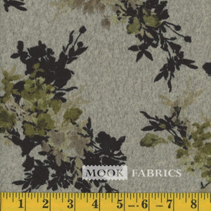 Olive And Beige Floral Sweater Knit Fabric