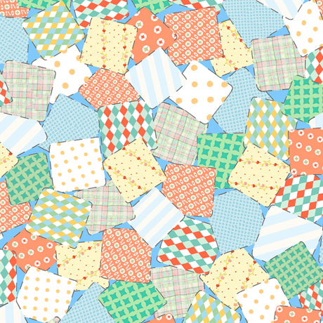 Quilting Treasures Animal Parade Patchwork - Baby Blue