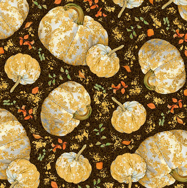Quilting Treasures Autumn Shimmer Tossed Pumpkins Fabric