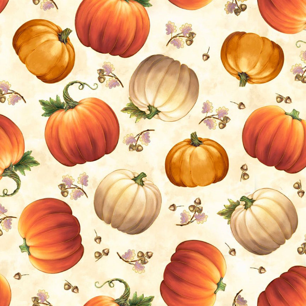 Quilting Treasures Harvest Elegance Pumpkins - Cream