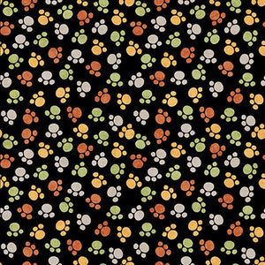 Quilting Treasures Jungle Buddies Paw Print - Black