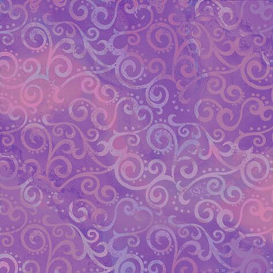Ombre Scroll Purple Blender Quilting Fabric