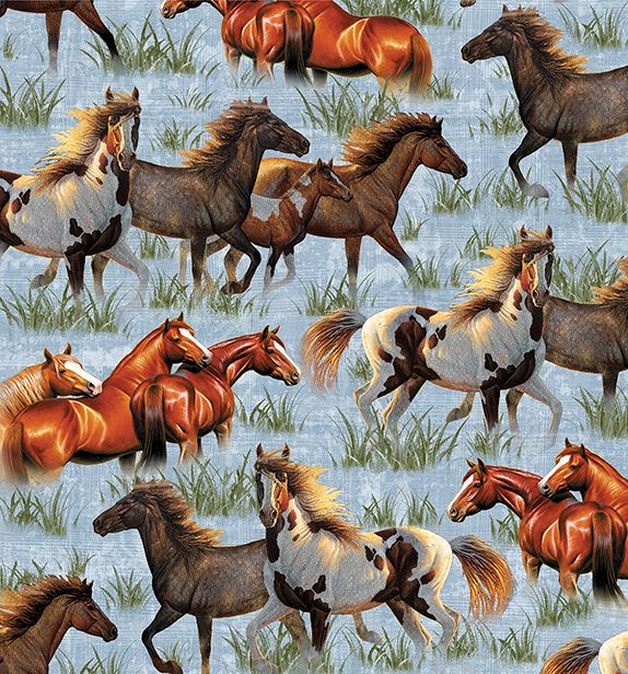 Quilting Treasures Round 'Em Up Running Horses - Blue