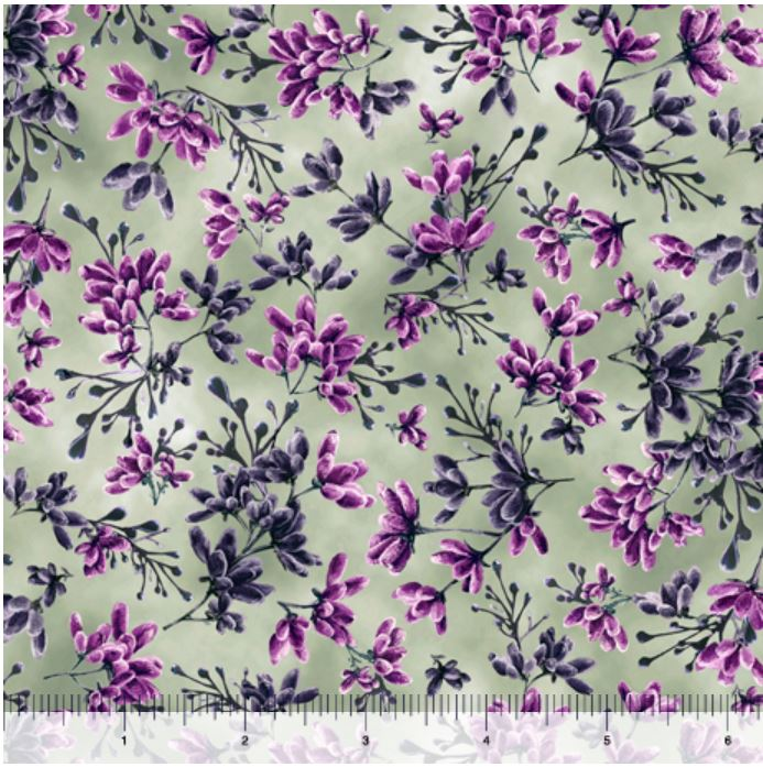 Quilting Treasures Simone Flower Buds - Moss