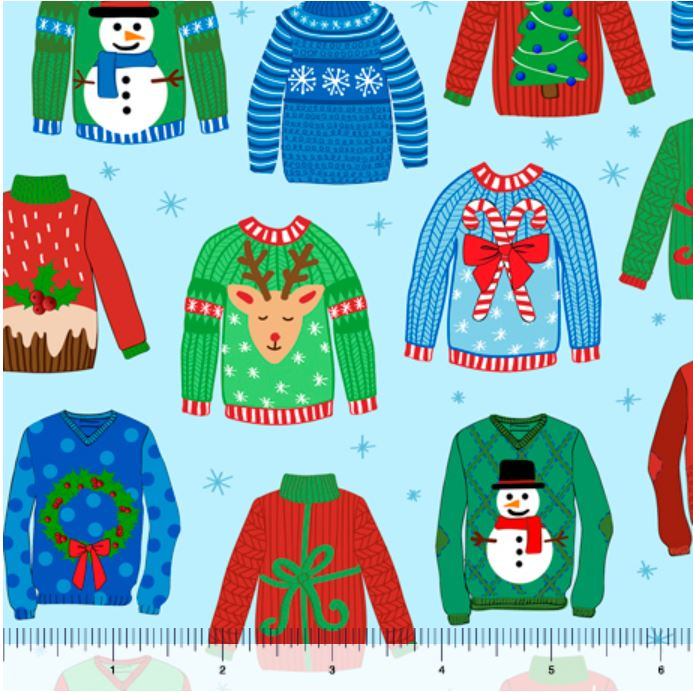 Quilting Treasures Sweater Weather Ugly Christmas Sweater - Blue