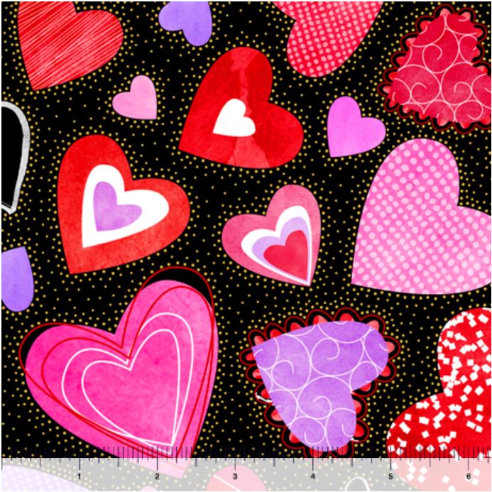 Quilting Treasures Sweethearts Large Hearts - Black