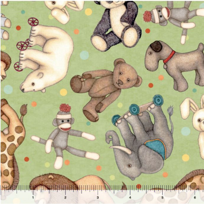 Quilting Treasures Toyland Animal Toss - Green