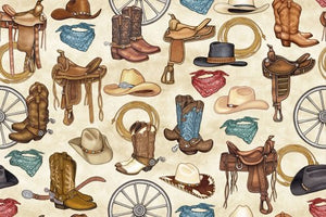 Quilting Treasures Unbridled Western Motifs - Cream