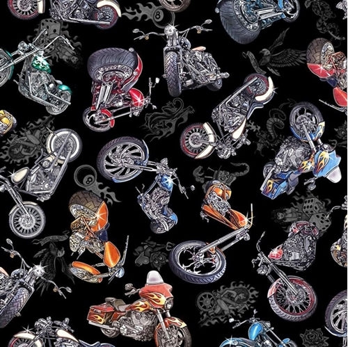 Quilting Treasures Easy Rider Motorcycle Toss - Black