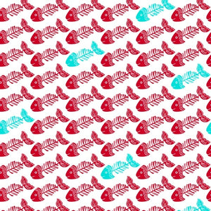 Red Fish Bones on white cotton fabric