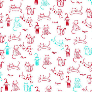 Red Cats on white cotton fabric