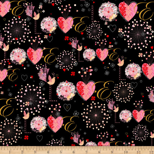 Quilting Treasures All Of My Love Fabric - Black