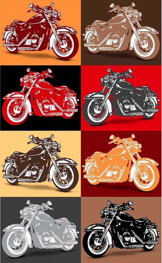 Motorcycle Patch Quilting Cotton - Multicolour