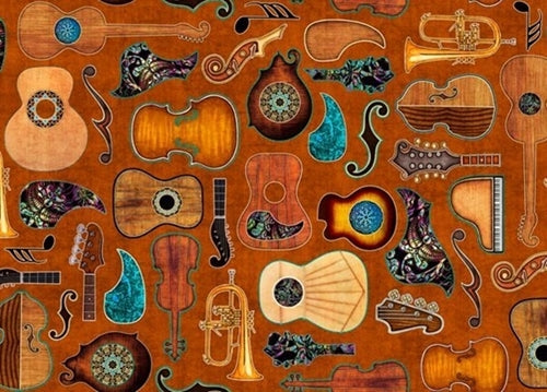 Quilting Treasures Fine Tuning Guitar Fabric - Rust