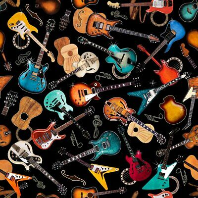 Quilting Treasures Good Vibrations Guitar Fabric