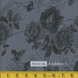 Floral Quilt Backing Fabric - Charcoal