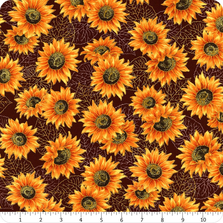 Robert Kaufman Autumn Beauties Metallic Sunflower Fabric - Brown