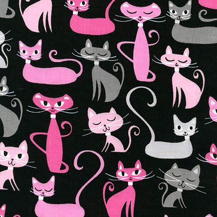 Robert Kaufman Whiskers & Tails Cats - Black & Pink