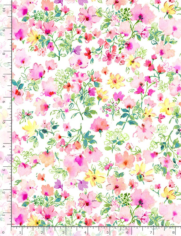 Timeless Treasures Spring Song Watercolour Spring Floral