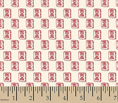 Springs Creative China - Cream & Red Ditsy Fabric