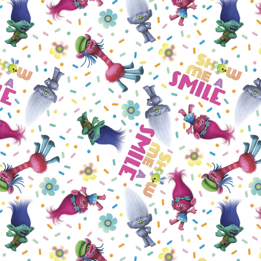 Trolls Show Me A Smile Quilting Fabric