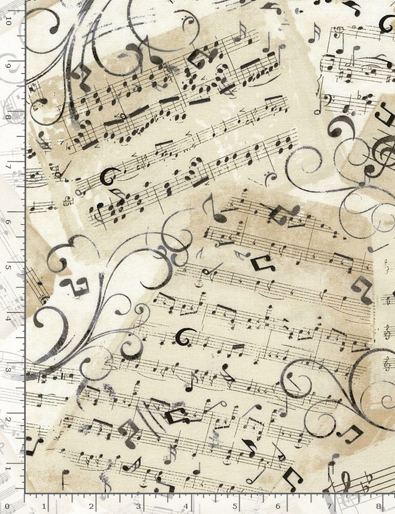 Timeless Treasures Symphony Music Sheets - Natural