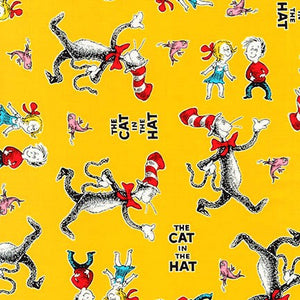 Robert Kaufman Cat In The Hat Cotton Fabric - Yellow
