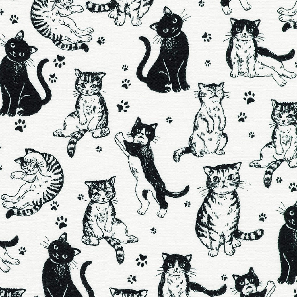 Robert Kaufman Whiskers & Tails Cats - White