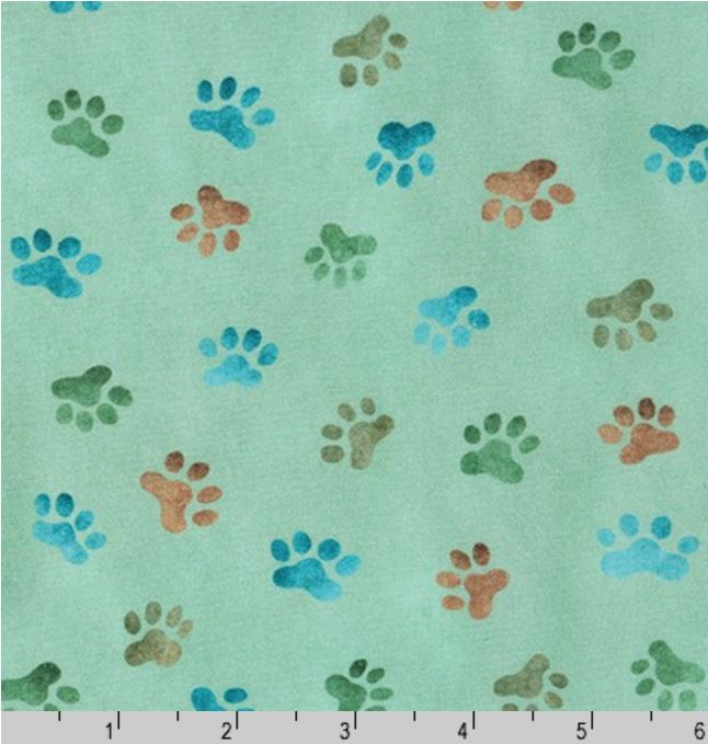 Robert Kaufman Whiskers & Tails Paw Print - Grass