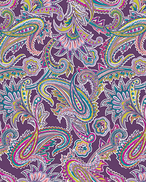 Baum Radiant Paisley Purple Fleece Fabric