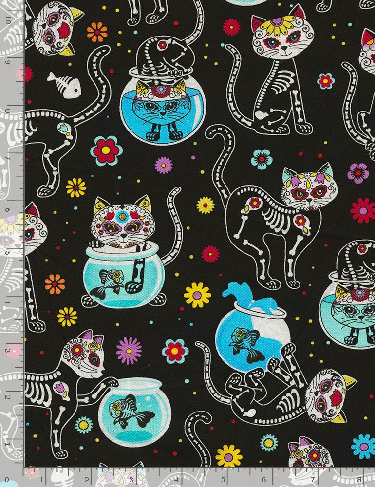 Timeless Treasures Crazy For Cats Cat Skeletons Fabric