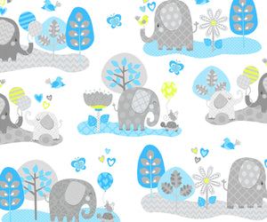 Elephant Blue Nursery Flannel