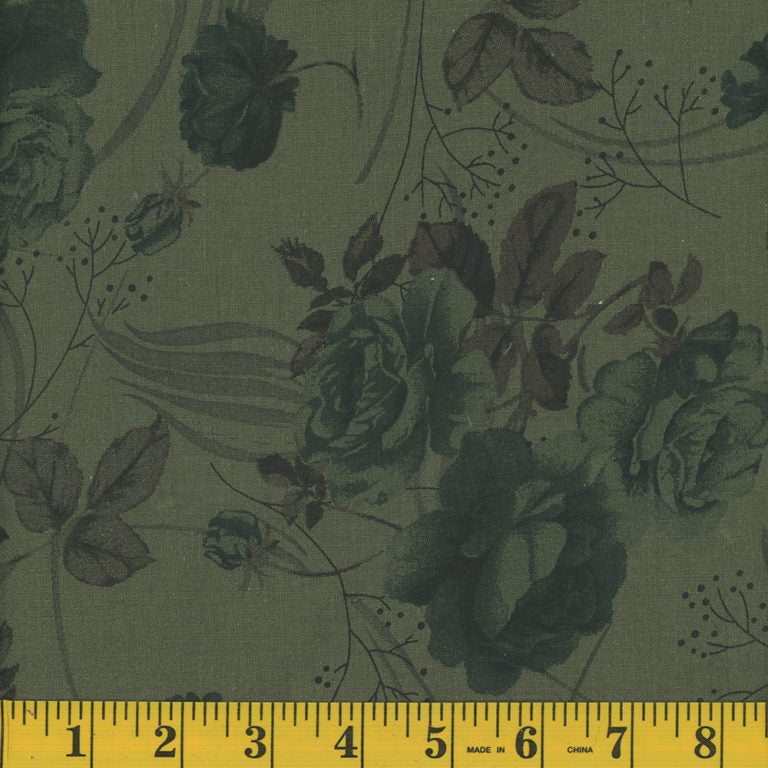 Floral Quilt Backing Fabric - Dark Green