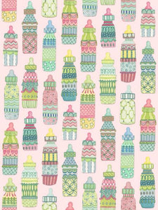 Baby girl bottles quilting fabric