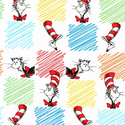 Robert Kaufman Cat In The Hat Cotton Fabric - Multi