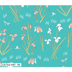 Lily Pad Lily Quilting Fabric - Teal