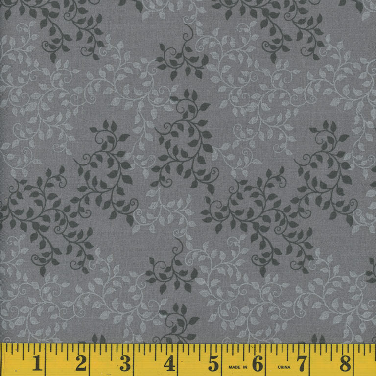 Leaves Quilt Backing Fabric - Charcoal