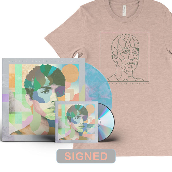 Andrew Combs - Ideal Man [SIGNED New West Exclusive Colored Vinyl + SIGNED CD + T-Shirt Bundle]