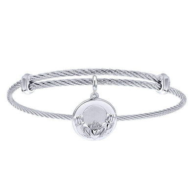 Gabriel NY 925 Silver/Stainless Steel Claddagh Charm Bangle