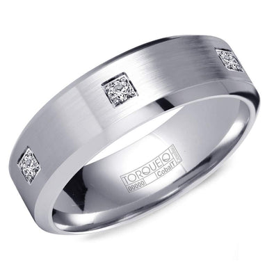 Gents White Cobalt Wedding Band w/ 6 Diamonds CB-2152 (7mm)
