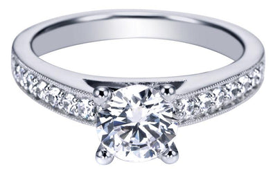14K Contemporary Milgrain Detail Diamond Engagement Ring