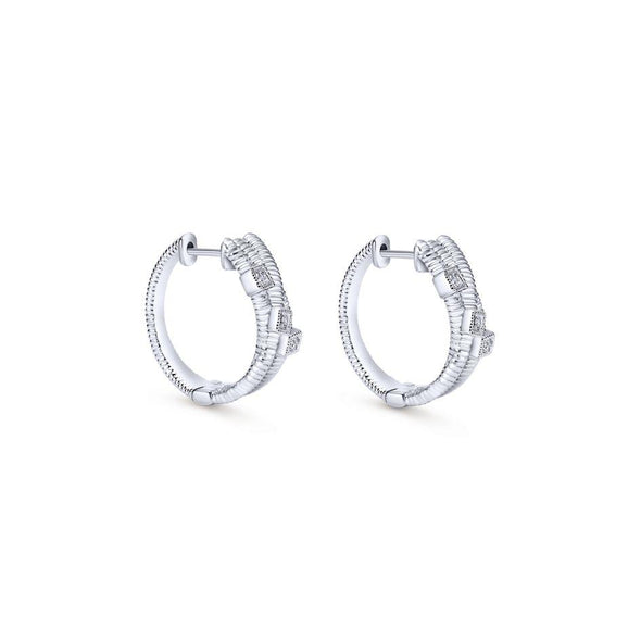 Gabriel NY Roped 925 Silver Diamond Ravel Huggie Earrings